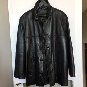 Modango Black Leather Car Coat zip out lining L